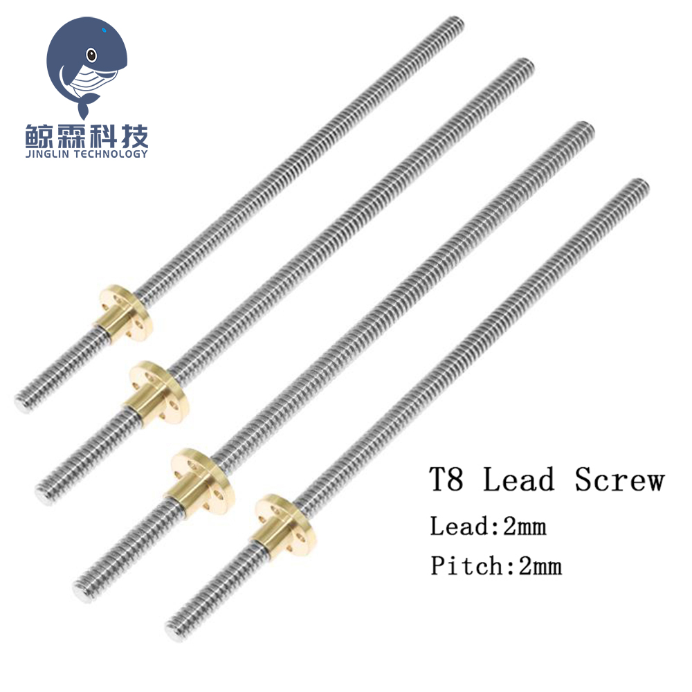 sourcing map 450mm T8 OD 8mm Pitch 2mm Lead 4mm Stainless Steel Lead Screw Rod with Copper Nut for 3D Printer Z Axis Acme Thread