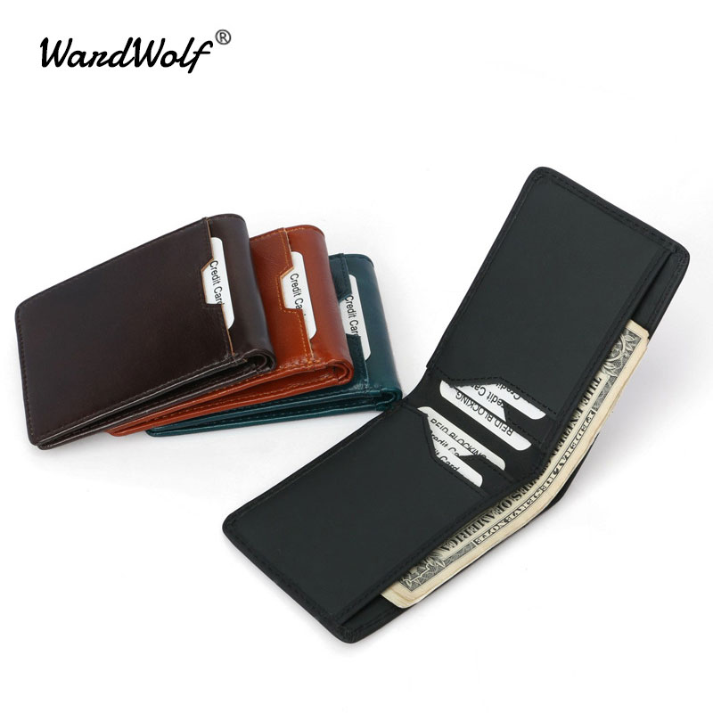 bright n colour 50% off new release US $19.62 |WardWolf Bifold Slim Purse Wallet for Mens Genuine Leather Male  Short Men Wallet Card Holder RFID Blocking Black Brown-in Wallets from ...
