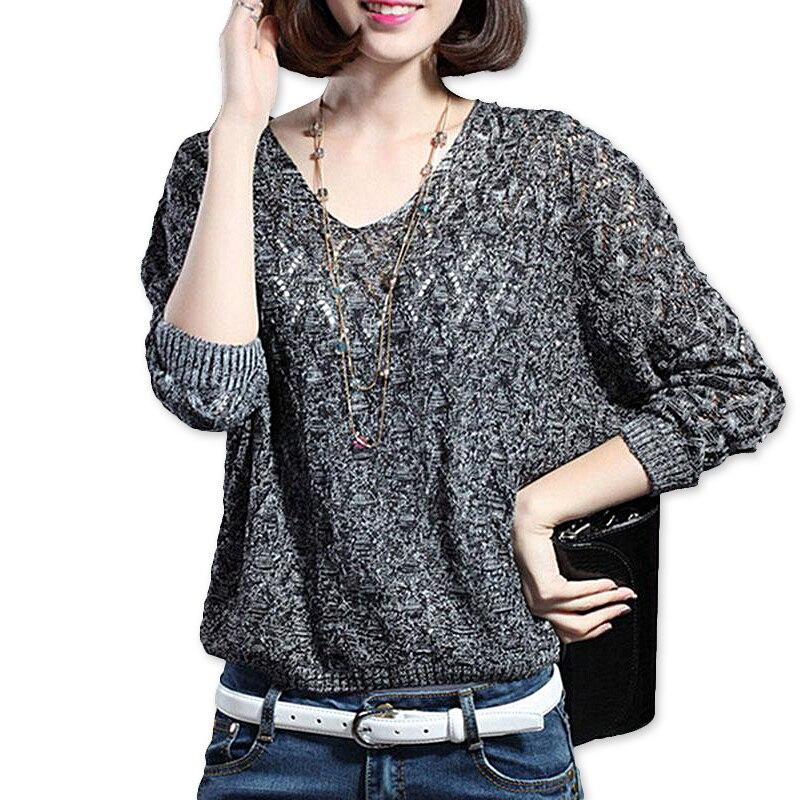 Sexy otoño y el invierno de las mujeres básicas suéter hueco Suéteres knit  v-cuello sólido mujer suéter rajó tapa delgada 774c219c9d31