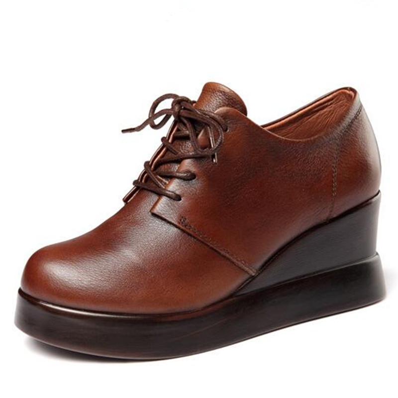 Lässig Ferse Frühling Echtes Volles Komfort Elegante Frauen High Hang Mode Heißer Neue Schwarzes 2019 Verkauf brown Leder Schuhe Heels OxatR