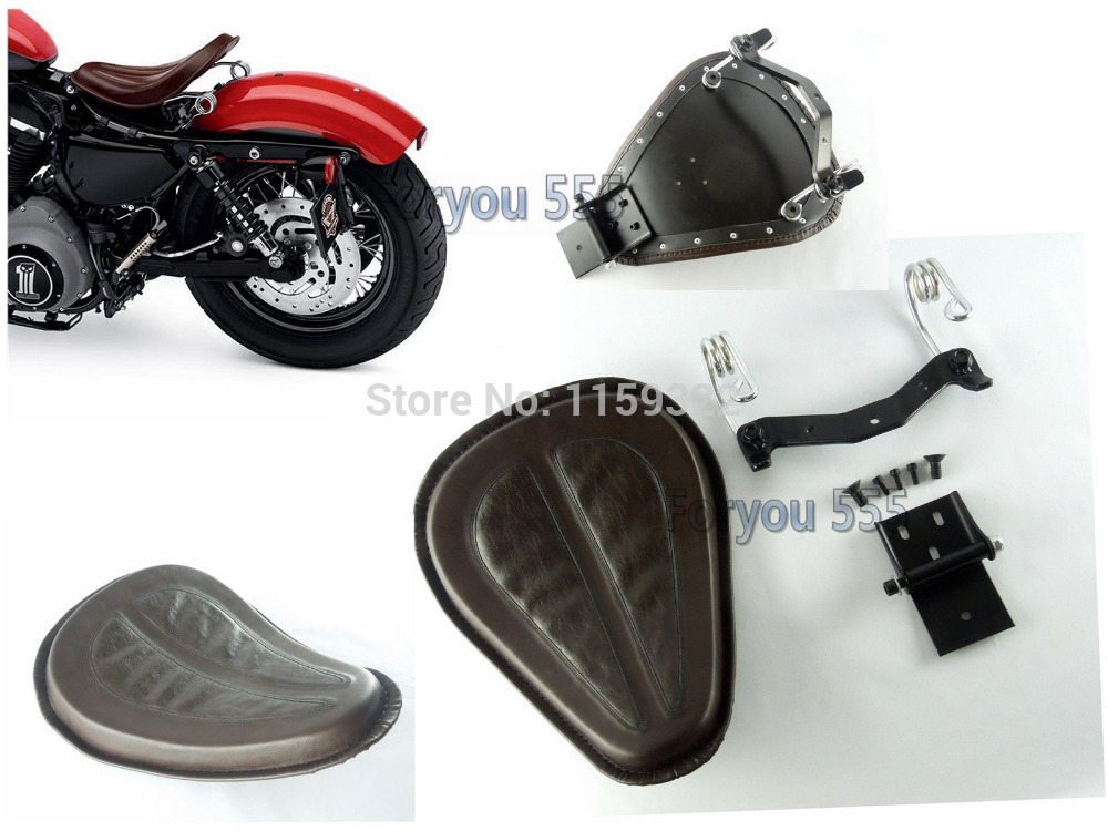 Motorcycle Brown Brackets Springs Solo Seat Saddle Bobber For Harley Sportster Iron 883 1200 Xl