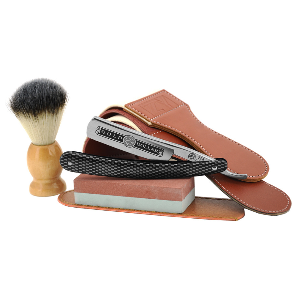 Image 3 - Man Straight Shaving Razor Cut Throat Knife Gold Dollar 208 +Sharpening Stone + Synthetic Shaving Brush+ Sharpener Strop Belt-in Razor from Beauty & Health