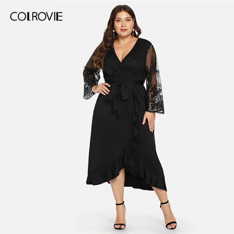COLROVIE Plus Size Black V-Neck Mesh Long Sleeve Ruffle Wrap Casual Party  Dress Women c19a5b67cc8d