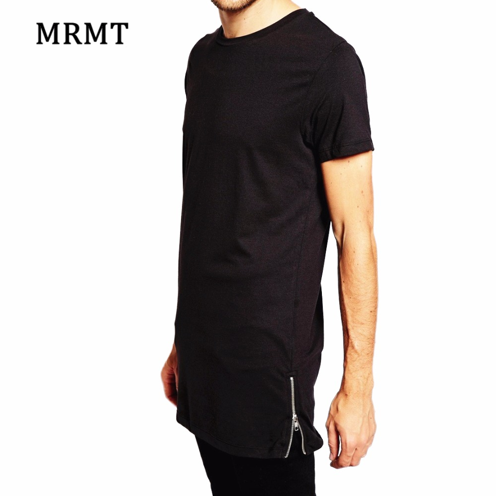 Brand New Clothing Mens Long Length Black t shirt 2018 Hip Hop Extra longline streetwear t-shirt Zipper t shirt panjang