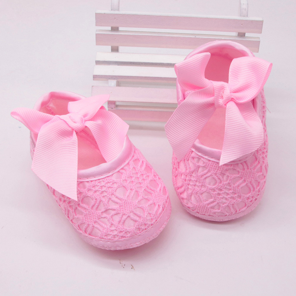 Toddler Infant Girls Soft Shoes Soft Soled Non-slip Bowknot Footwear Crib Shoes