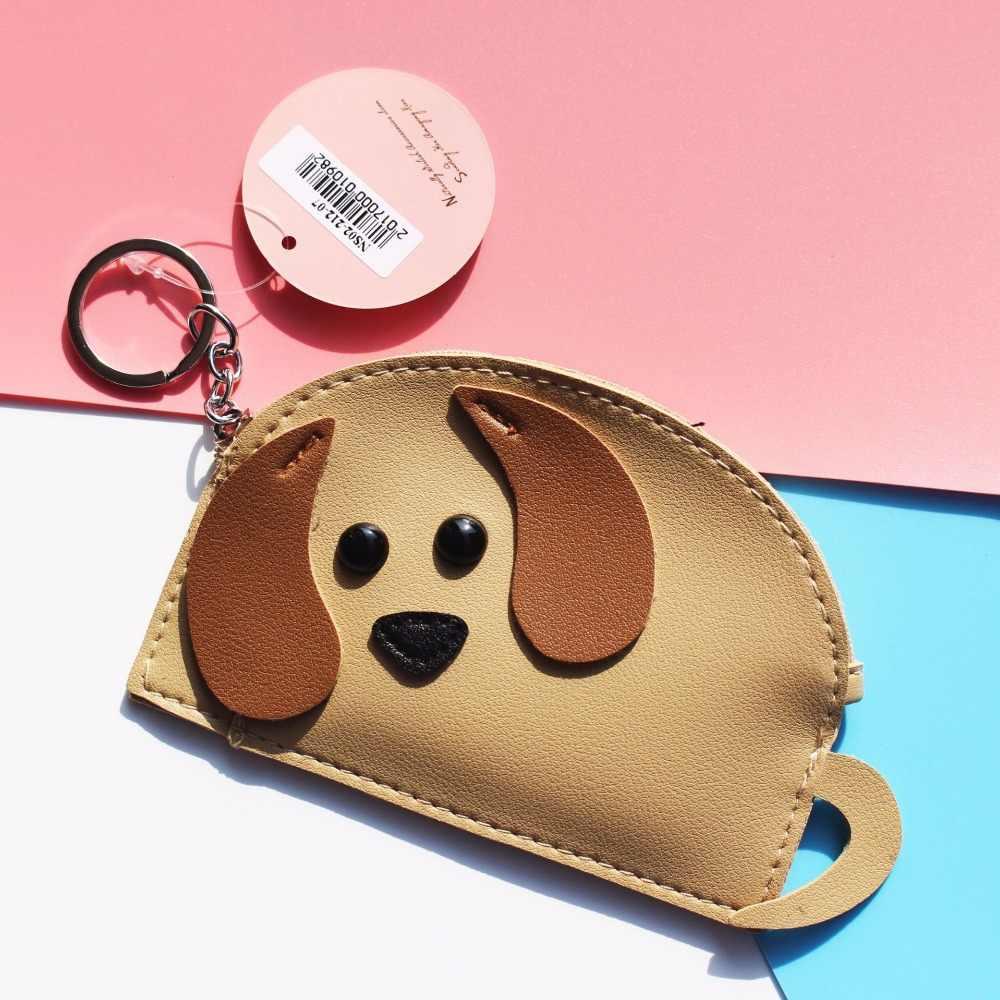 Hnxzxxb carteras de mujer monederos de monedas pequeñas monederos de cartón de perro cartera corta con cremallera alrededor de las señoras titular de la tarjeta del embrague