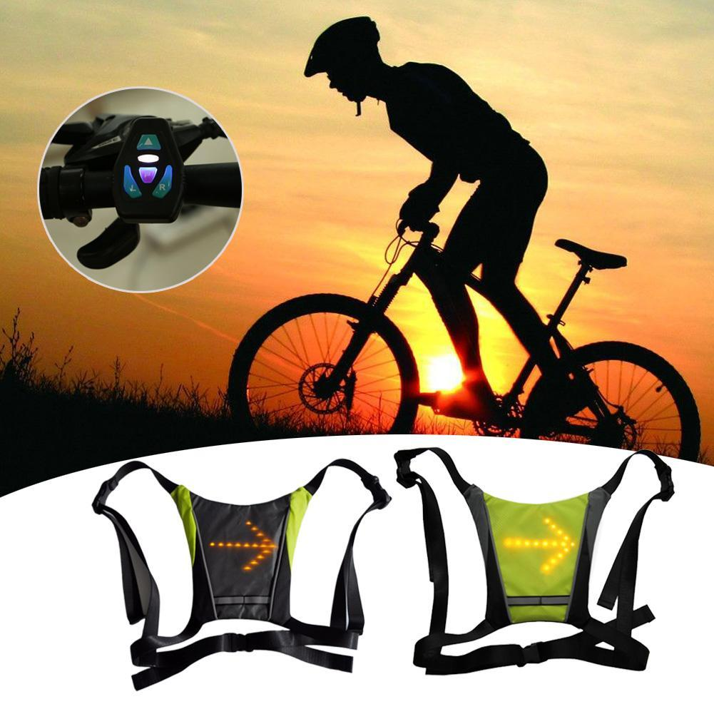 Bike Shirt Sleeveless Signal Warning Light Reflective Safety Vest giubbotto catarifrangente Wireless Remote Control ciclismo in Cycling Vest from Sports Entertainment