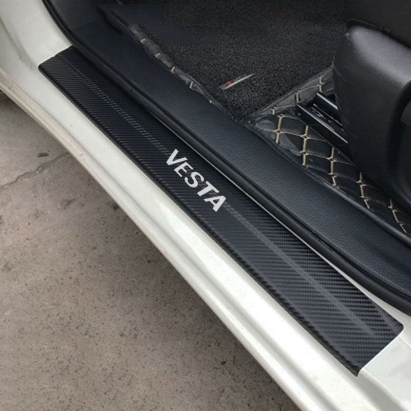 Car Styling Carbon Fiber Vinyl Sticker Car Door Sill Protector Scuff Plate For LADA VESTA Car Accessories car accessories carbon fiber door sill 2pcs fit for 1989 1994 r32 gtr gts door sill without logo car styling