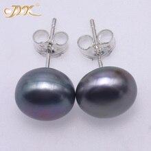 f43694a0f177 JYX genuino naturales de la perla 925 joyería de plata de la perla plana redonda  perla de agua dulce cultivada 925 pendientes mo.