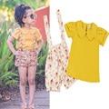 Nueva Summer Girls Establece Moda 2 unids Tops + Pantalones de la Muchacha Del Niño Ropa de Verano Fresco Fille Enfants Vetements Niñas Chándal