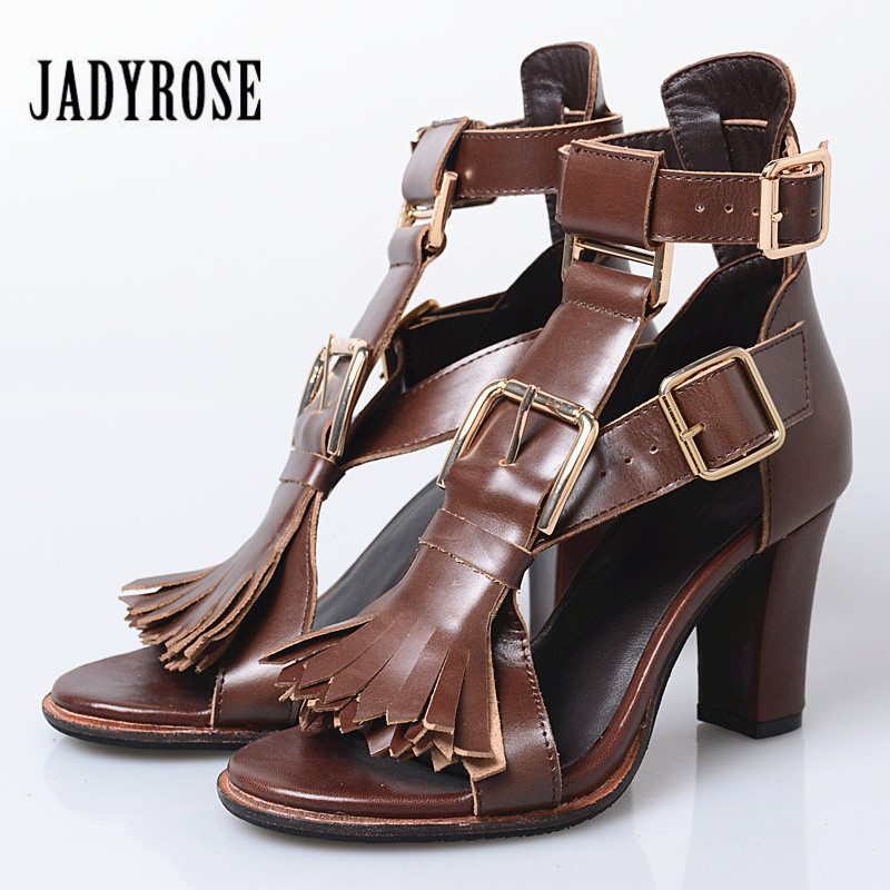 Jady Rose Women Gladiator Sandals Genuine Leather Fringed Summer Sandal 8CM Chunky High Heels Straps Ladies Prom Dress Shoes 2017 summer genuine leather women sandals rose flowers sweet gladiator cross tied party shoes low square heels pump pink sandal