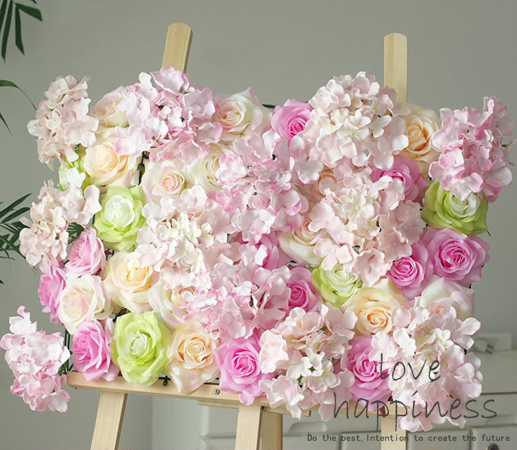 10pcslot Artificial Silk Rose With Hydrangea Flower Wall Hot Pink