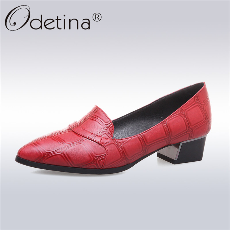 Odetina 2018 New Fashion Leisuer Shoes Women Slip On Pointed Toe Square Heels Comfort Thick Heel Solid Loafers Plus Size 32-43 odetina fashion women pointed toe rivets loafers 2017 spring