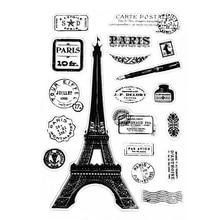 Париж башня прозрачный силиконовый очистить резиновый штамп цепляется дневник DIY Скрапбукинг