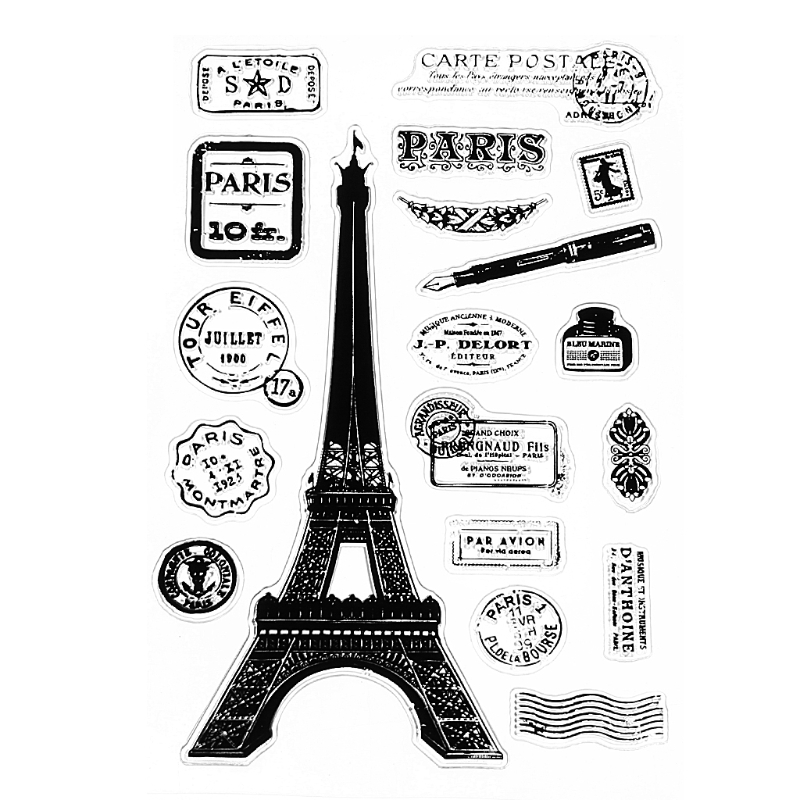 Paris Tower Transparent Silicone Clear Rubber Stamp Cling Diary DIY Scrapbooking