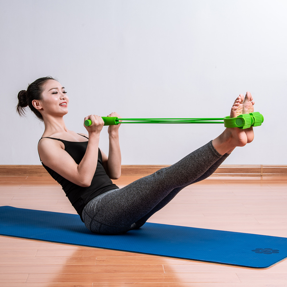 Foot Pedal Pull Rope Resistance Yoga Exercise 4-Tube Sit-up Fitness Equipment UK