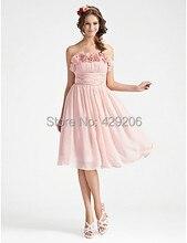 Graceful Brautjungfer Kleider Mit Trägerlosen Geraffte Knielangen Blumen Maß Reißverschluss Zurück Short Party Prom Kleider