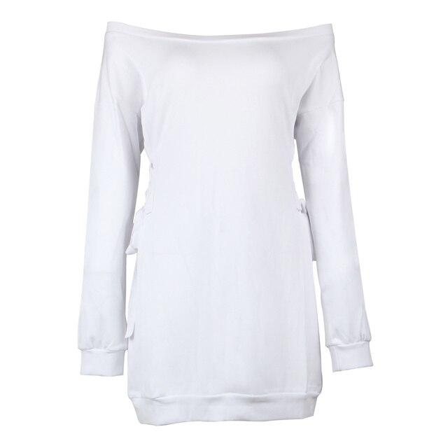 Glamorous Lace Up Slash Neck Sweatshirt Dress Kylie Jenner White Long Sleeve Solid Off The Shoulder Sexy Mini Women Dress 2