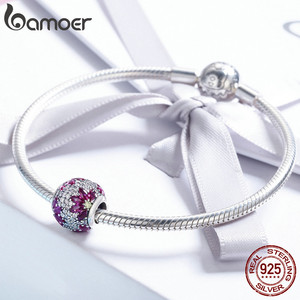 Image 4 - BAMOER Spring Collection 925 Sterling Silver Maple Leaves Clear CZ Beads fit Charm Bracelet & Necklaces DIY Jewelry SCC570