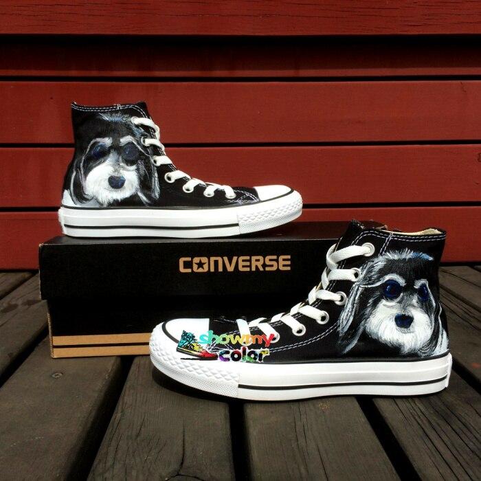 Prix pour Converse Chuck Taylor Garçons Filles Chaussures Pet Chien Chrysanthème Design Original Peint À La Main Sneakers Hommes Femmes Chaussures de Skate