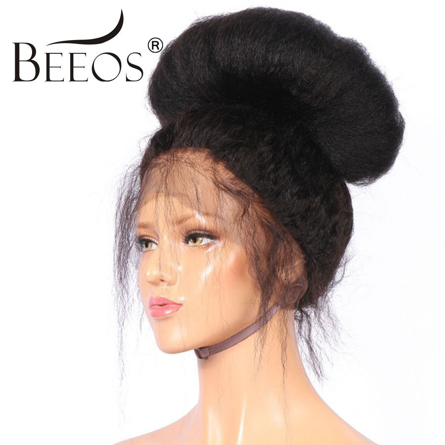 BEEOS 12-24 250 Density Peruvian Full Lace Wig Human Hair With Baby Hair Remy Kinky Straight Wig For Women Bleached Knots