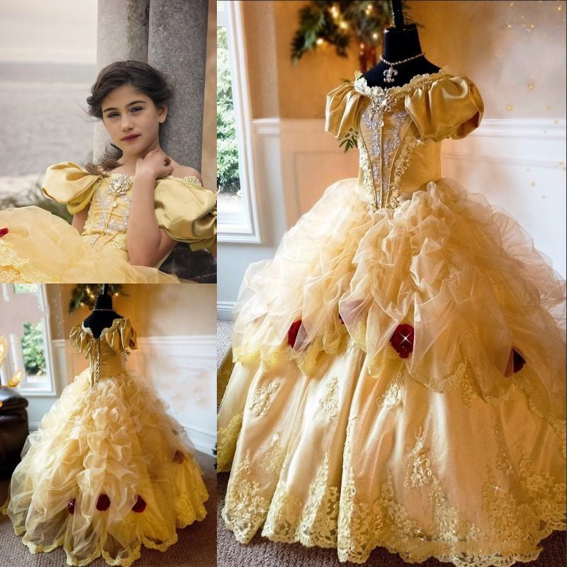 Princess Girls Pageant Dress Puffy Organza Crystal Appliques Ball Gown Children Birthday Dress Fairy Tale Flower Girl DressesPrincess Girls Pageant Dress Puffy Organza Crystal Appliques Ball Gown Children Birthday Dress Fairy Tale Flower Girl Dresses