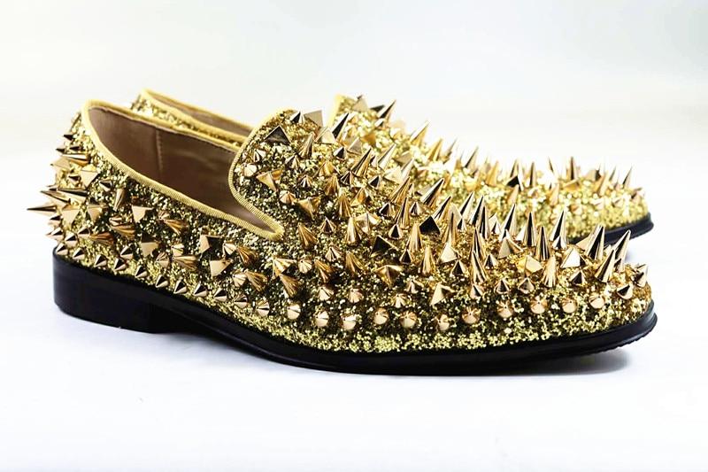 f3e184bf8d69 Qianruiti Top Men Gold Spike Shoes Slip on Loafers Dandelion Glitter Flats  Wedding Shoes for Men EU39 EU46 Black