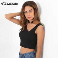 Misszonee Black T Shirt 2017 Fashion Women V Neck Tops Tank Famale Slim Womens Sexy T