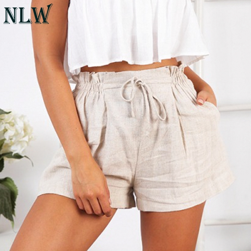 NLW Casual High Waist   Shorts   Women 2019 Summer Holiday Elastic Waist   Shorts   Female Stylish Beige Lace up Plus Size   Shorts