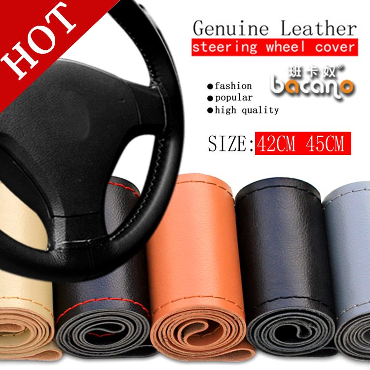 Free shipping Car Truck Steering Wheel Cover Genuine Cowhide Leather DIY Hand Sewing Diameter 42cm 45cm Wholsale Gifts BACANO ...