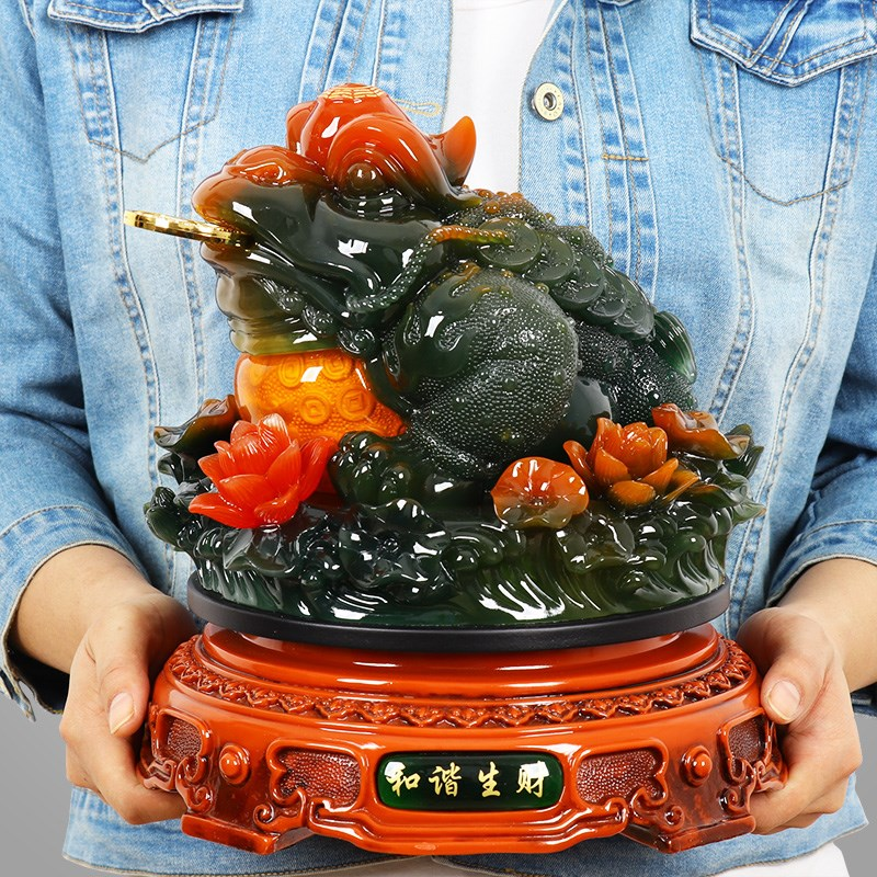 28CM Large # Bring In Wealth Office Home Shop Company Efficacious Mascot Money Drawing JADE JIN CHAN FENG SHUI Decoration Statue