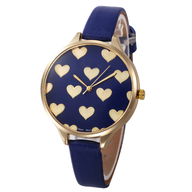 bc58a5d7852 Moda amor corazón relojes mujeres PU correa de cuero Reloj de Ginebra señora  mujer Reloj cuarzo