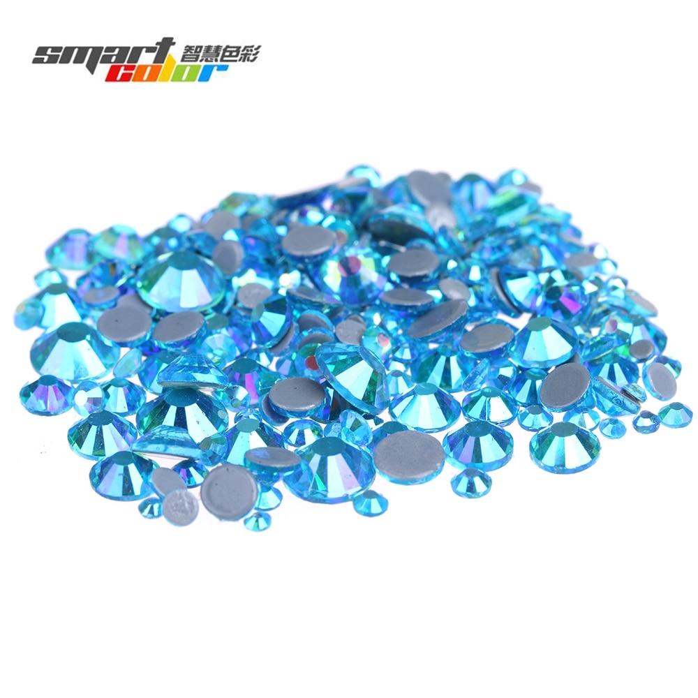 Aquamarine AB Color Hotfix Strass Rhinestones Glue Backing Iron On Glass Diamonds Appliques Garment Decorations modamostra strass 2384 прозрач