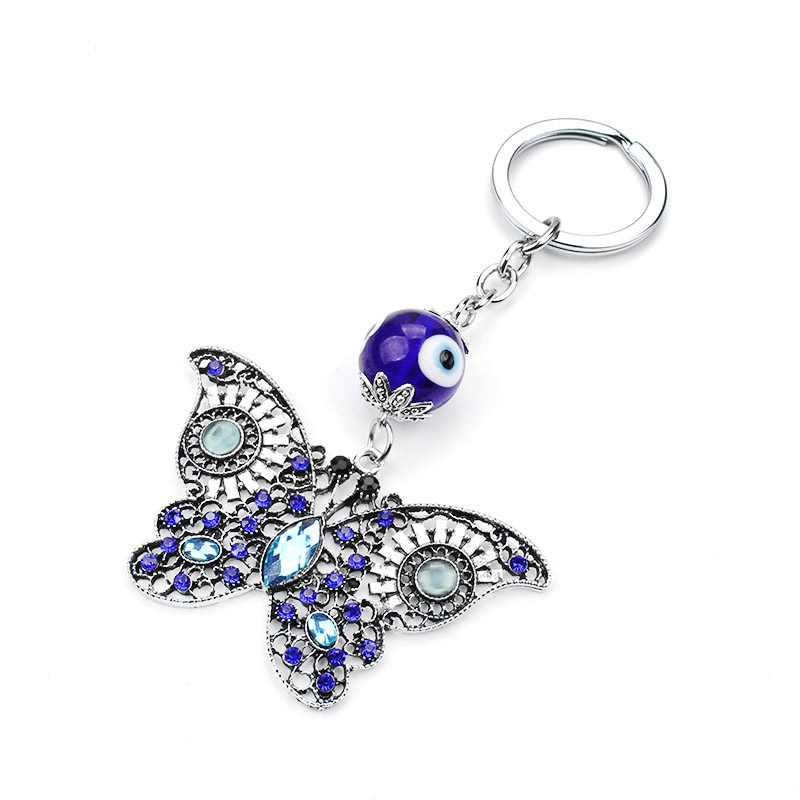 Jewelry Sets & More Jewelry & Accessories Evil Eye Butterfly Keychain 1pc Classic Animal Keychain Micro Pave Crystal Butterfly Charm With Blue Evil Eye Vintage Keychain
