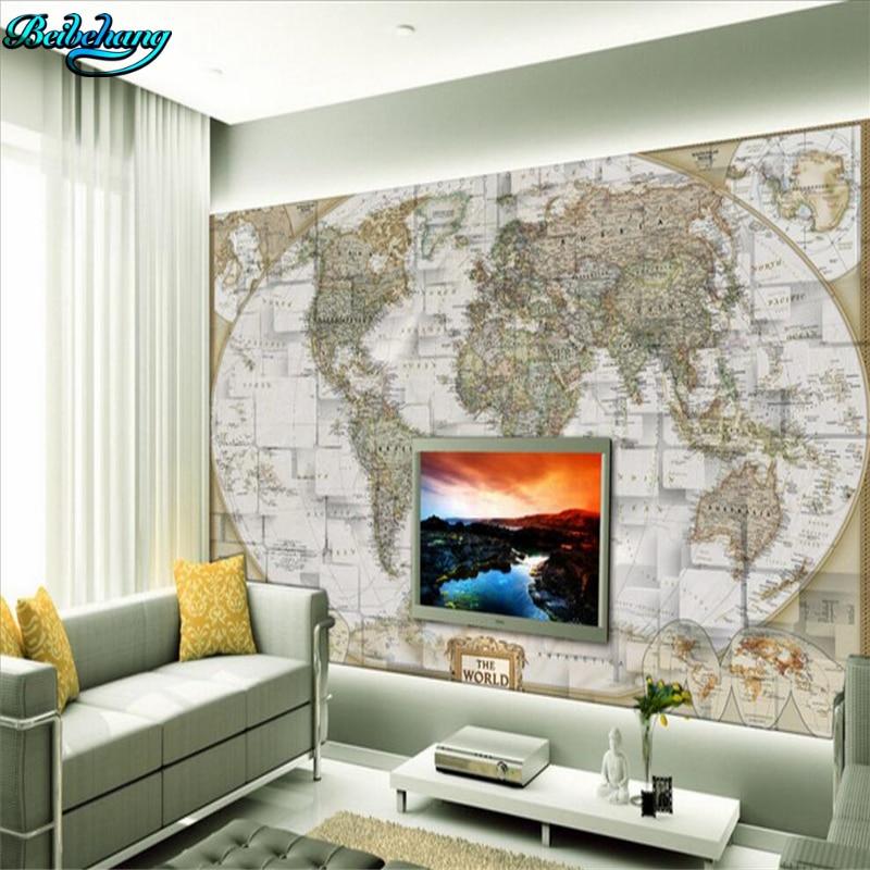 beibehang Large Custom Nonwovens Wallpaper 3D Stereo Mural World Map TV Background Wall papel de parede para quarto beibehang nonwovens healthy fashion