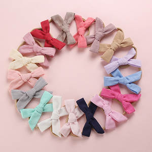 Bow Headbands Hair-Clips Hand-Tied School-Girl Linen Nylon Cotton 100pcs/Lot Or