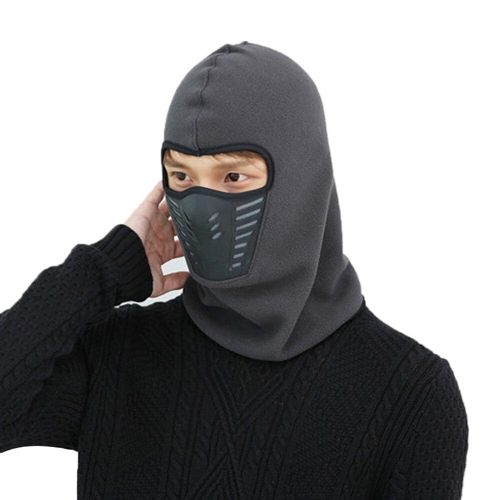 Модные Повседневные Удобные ветрозащитные шапки для туризма для лыж велосипеда мотоцикла шляпа мужской зимний теплый маска шляпа унисекс шеи теплый шлем шляпа - Цвет: Dark grey