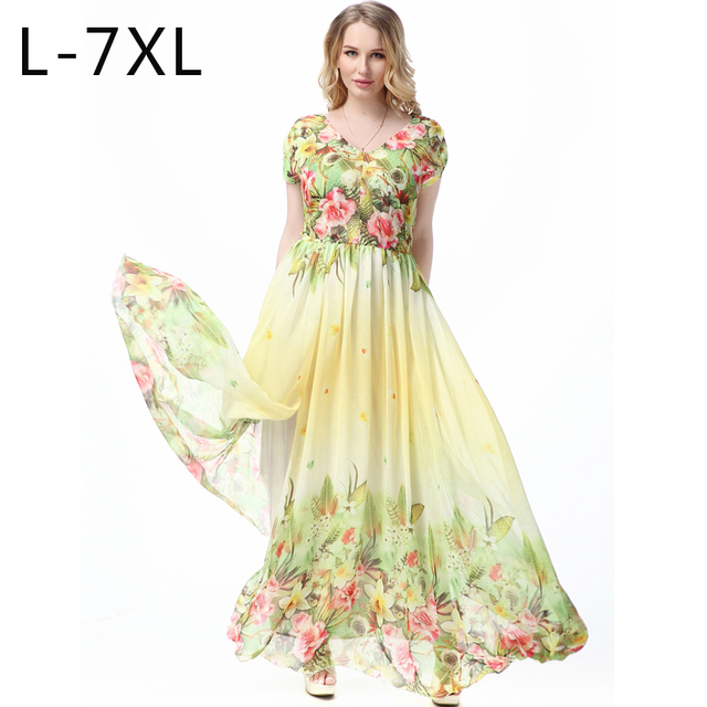 6ed90ae179 British Style Floral Print Sundresses For Women Boho Hippie Gold Dress Mori  Girl Long Chiffon Dress Plus Size Maxi Dresses