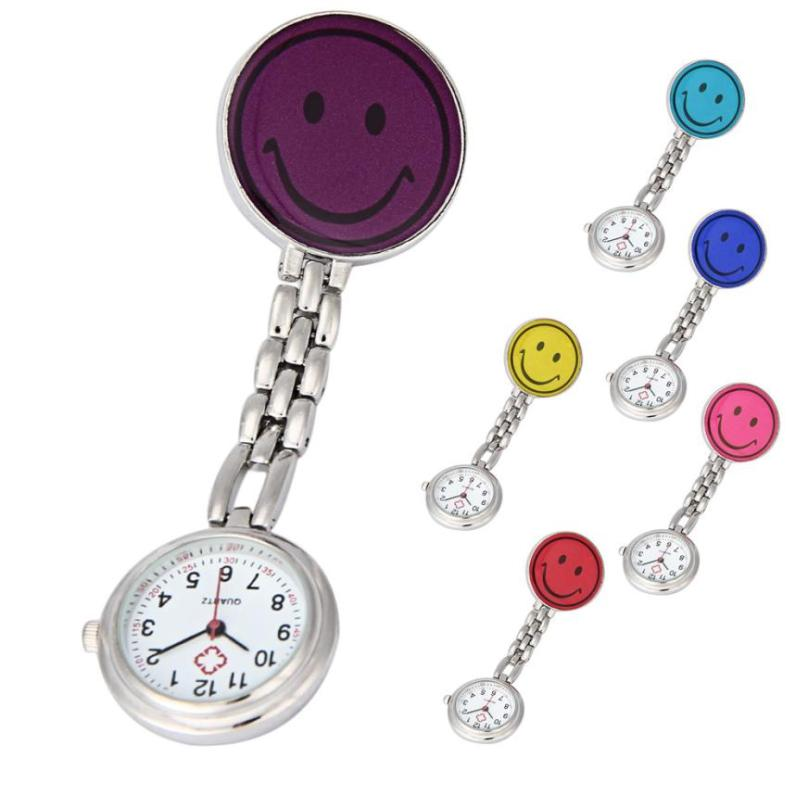 Nurse Watches 1 PC Brooch Fob Medical Nursery Clocks Colorful Smile Faces Quartz Pocket Pendant Hanging Watch Wholesale cute smile faces high visibility