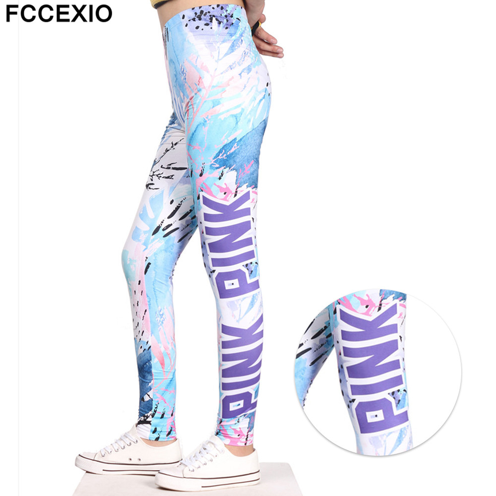 FCCEXIO 2019 New Design Women Leggings Pink Letter  Love Printed Leggins Fitness Legging Sexy Slim High Waist Woman Pink Pants