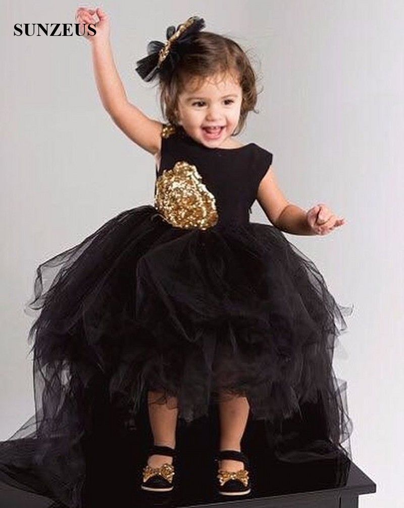 Black Flowers Girls Dress Short Front Long Back Tulle Party Dresses For  Childern High Low Puffy Kids Birthday Gown FLG006 conew 6 (2) conew1  conew 6 (1) ... ef5286c3fc09