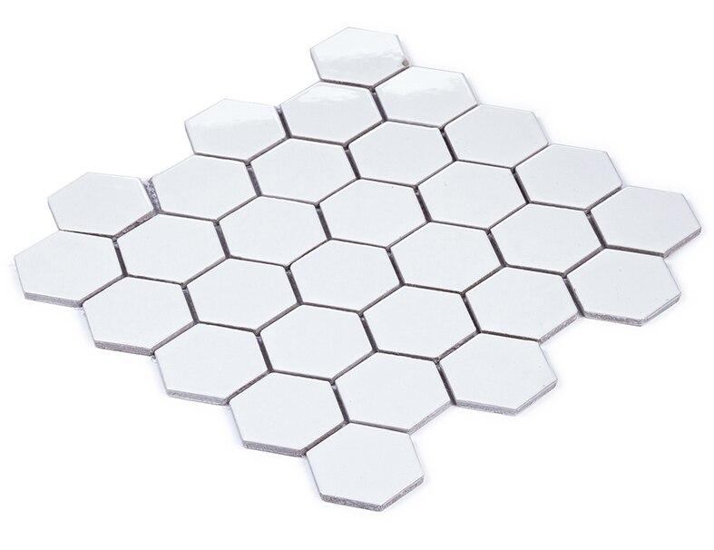 Carrelage mosaïque en céramique blanche 12x12 hexagone, dosseret de cuisine/salle de bain décor de papier peint pour la maison, autocollant de plancher de toliet, LSHX501
