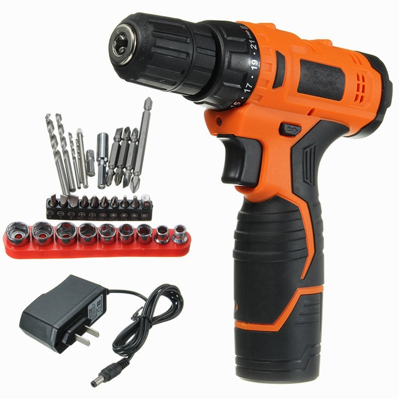 Newest 12V Lithium-Ion Cordless Electric Combi Drill Variable Speed Driver Bits Set Power Drill Tool Electric Drill Screwdriver deko gcd20du3 20 volt max dc lithium ion battery 13mm 2 speed electric cordless drill mini screwdriver impact power driver