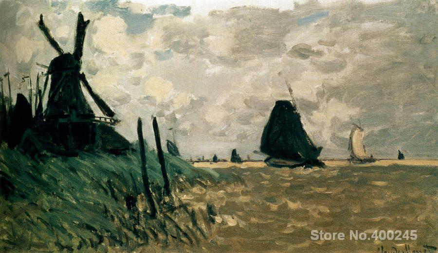 Canvas Art online Claude Monet Paintings A windmill near zaandam High quality Hand paintedCanvas Art online Claude Monet Paintings A windmill near zaandam High quality Hand painted