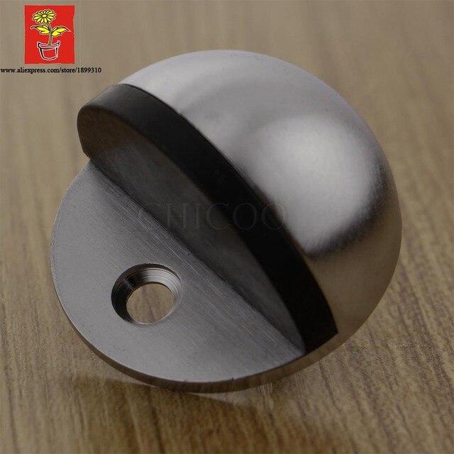Whole 10pcs Zinc Alloy Satin Chrome Half Moon Door Stopper 46mm Dia Stop