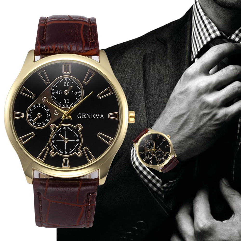Xiniu geneva watch men retro design pu leather band three eyes analog alloy quartz wrist watch for Watches geneva