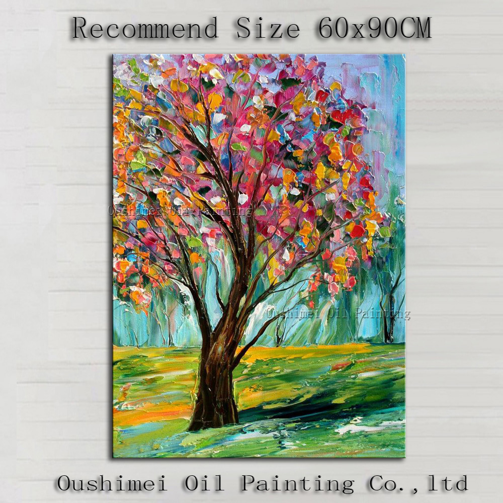 Knife Tree Landscape Cheap Oil Painting On Canvas Home Decor Modern Scenery Handmade Wall Art Hand Painted Simple Painting