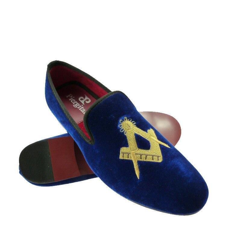 f9e0bcbd8c61 velvet loafers red men masonic slippers shoes US size 6-13 free shipping