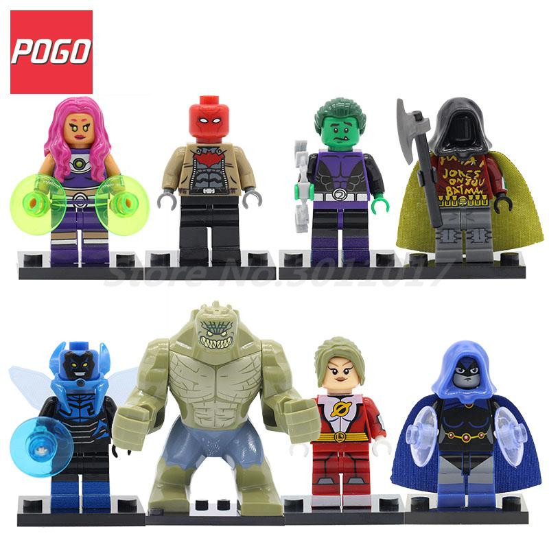 POGO Starfire Blue Beetle Beast Boy Killer Croc Figure Superheroes Building Blocks Sets Model DIY Educational Toys For Baby Gift