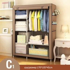 Image 2 - Modern Non woven Cloth Wardrobe Folding Clothing Storage Cabinet Multi purpose Dustproof Moistureproof Closet Bedroom Furniture